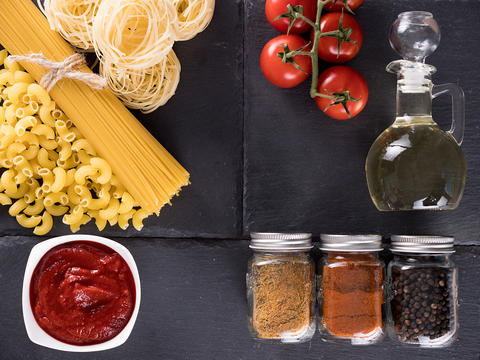 Top view variety of raw uncooked pasta Photo