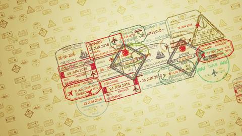 Landing Multishaped Travel Stamps Animation