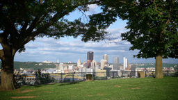 Pittsburgh Establishing Shot From West End Overlook stock footage