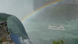 Tourists on a Niagara Falls Tour Boat with Rainbow Footage