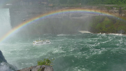 4K Niagara Falls Tourboat Pan Left with Rainbow Footage