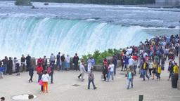 4K Niagara Falls Tourists at an Overlook Footage