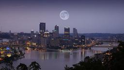 Full Moon Over Pittsburgh Skyline Footage