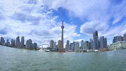 4K Toronto Skyline from Lake Ontario with CN Tower Footage
