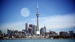 4K Full Moon over Toronto Skyline Footage