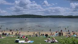 4K Lake Arthur Beach Goers Footage