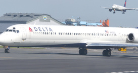 4K Delta Airliner Taxis on Runway Footage