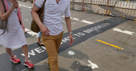 4K Welcome to Brooklyn Sign on Sidewalk Footage