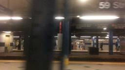 Slow Motion Leaving Columbus Circle Subway Station Footage