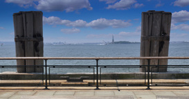 4K Ellis Island View from Battery Park Footage