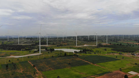 Drone shot aerial view scenic of wind turbine for electric generation eco and clean power ライブ動画
