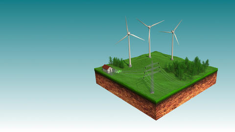 Wind Power Plant Sending Eco Power to Electric Power Transmission Animation GIF