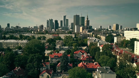 WARSAW, POLAND - AUGUST 7, 2018. Aerial establishing shot of the city ビデオ