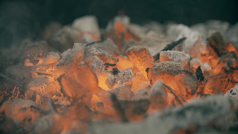 Red hot coals or ember for barbecue, close-up shot Footage