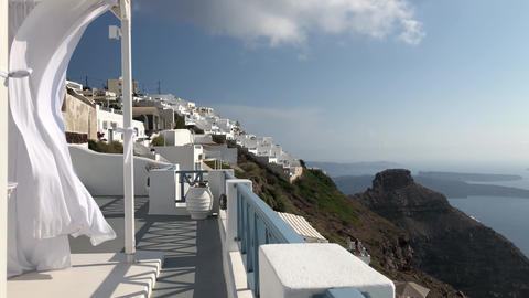 White Flowing Canopy In Santorini GIF