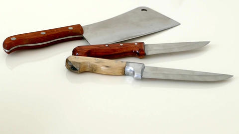 close-up meat knife hd video, victim knife and large meat row knife Footage