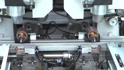 Engine Production Factory. Electric Engine Production Process Footage