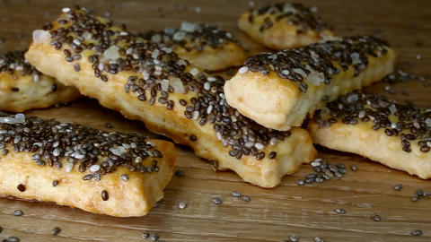 baked sticks with caraway, poppy, chia seeds, salt Live Action