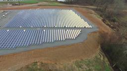 Aerial Desert View Boulder Solar Project Solar Panels Harvesting Clean Energy Footage