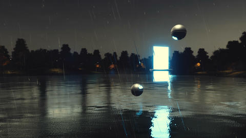 Another dimension portal above lake at dark rainy night Animation
