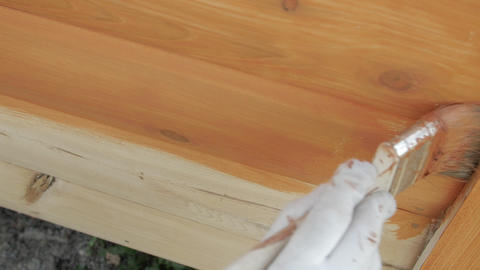 Close-up wood painting with a brush with the brown color GIF