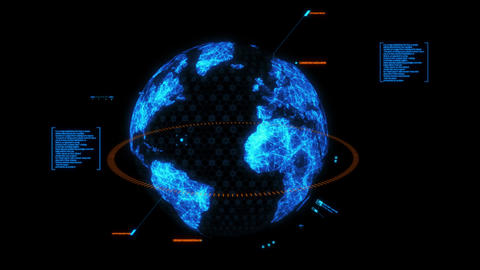 Blue HUD 3D Earth Hologram Interface Graphic Element Animation