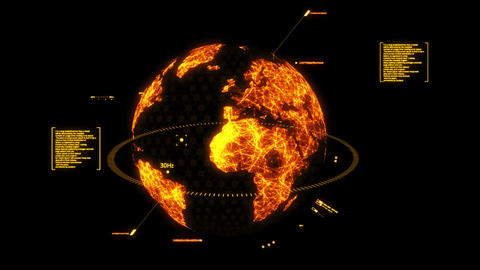 Orange HUD 3D Earth Hologram Interface Graphic Element Animation