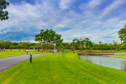 Thai people exercise and relax at Suan Luang King Rama 9 Park. Parks large city Photo