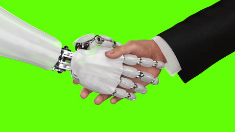 Robot and Businessman Shaking Hands Animation