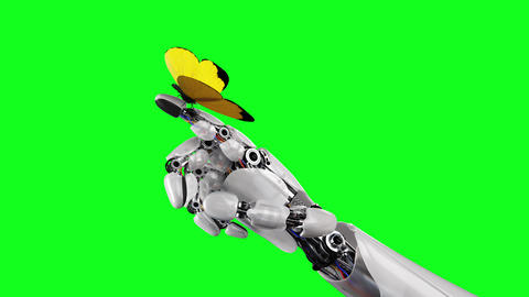 Yellow Butterfly Lands on the Robot's Hand on a Green Background. Beautiful 3d Animation