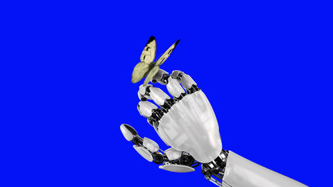 Cabbage Butterfly Lands on the Robot's Hand on a Blue Background. Beautiful 3d Animation