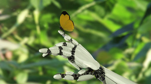 Yellow Butterfly Lands on the Robot's Hand. Beautiful 3d animation Animation