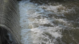 Slow motion of falling water. Hydroelectricity. Hydropower Live Action