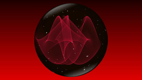 Magic mysterious sphere in black and red design with small white flying sparkles Animation