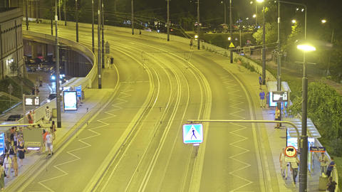 WARSAW, POLAND - AUGUST 4, 2018. City tram stop in the evening Footage