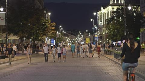 WARSAW, POLAND - AUGUST 4, 2018. Crowded pedestrian street in city centre at Photo