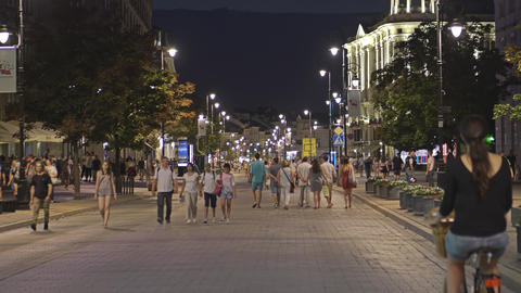 WARSAW, POLAND - AUGUST 4, 2018. Crowded pedestrian street in city centre at Footage