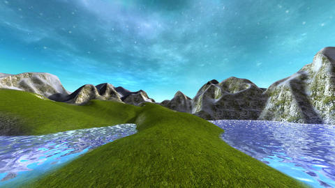 3d animation of a beautiful lake with hills and blue sky Animation