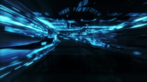Neon Light SciFi Tunnel Fast Loop - Blue Animation