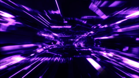 Neon Light SciFi Tunnel Fast Loop - Purple CG動画素材