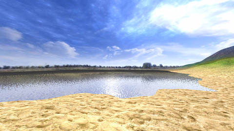 panoramic view of a lake with reflections from water Animation