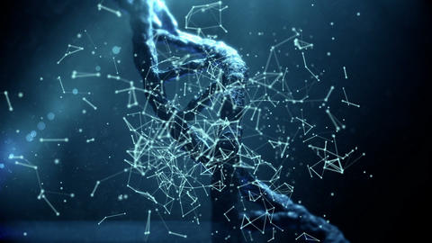 DNA with polygonal connecting dots and lines 4k Live Action
