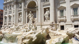 Trevi Fountain in center of Rome city, Italy. Beautiful european architecture ビデオ