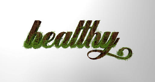 "The word ""healthy"" in natural wood optics. 3d rendering Animation"