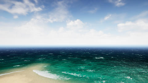 Aerial view waves break on beatiful sand beach. Animation of seamless loop. 4k Animation