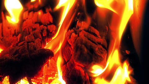 Hot fireplace full of wood and fire, Burning firewood and co Footage
