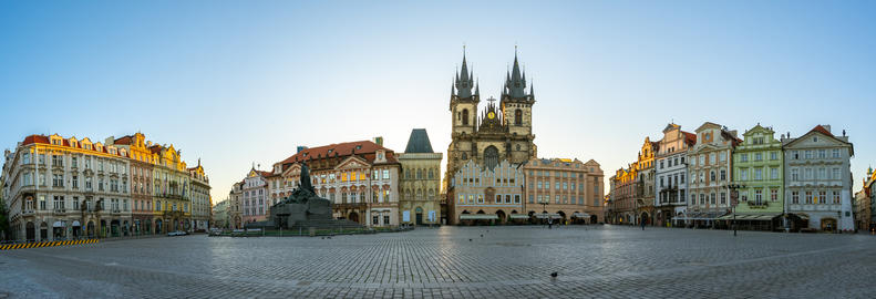 Panorama view of old town square in Prague city, Czech Republic Photo
