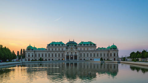 Timelapse video of Belvedere Museum in Vienna, Austria time lapse 4K Footage