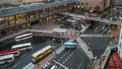 Day to Night timelapse of traffic near Nagano Station in Japan time lapse 4K 영상물