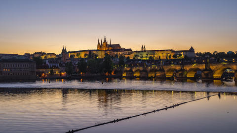 Day to night time lapse Prague city skyline with Charles Bridge in Prague, Czech Footage